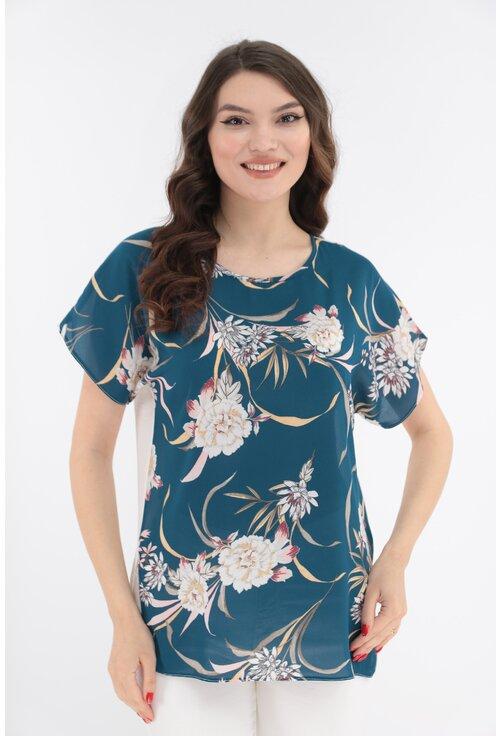 Bluza turcoaz cu print floral si cu spatele alb