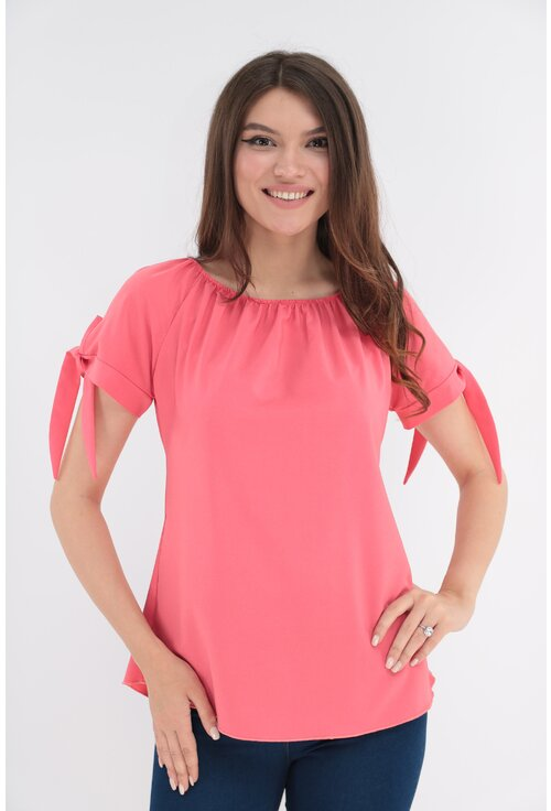 Bluza uni roz cu fundite la maneci