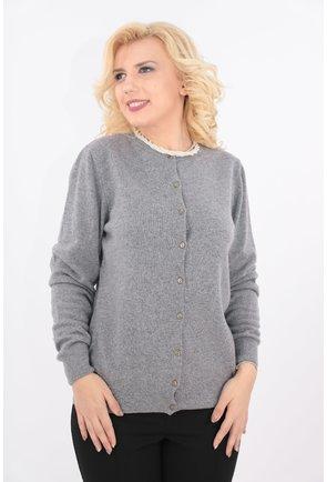 Cardigan gri tricotat din lana