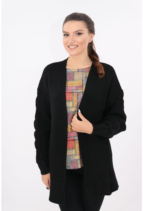 Cardigan lung negru tricotat spic