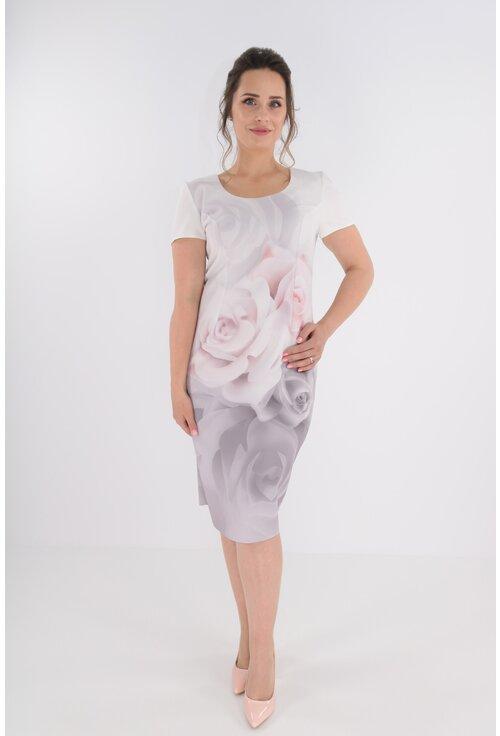 Compleu format din rochie cu trandafiri maxi roz si sacou