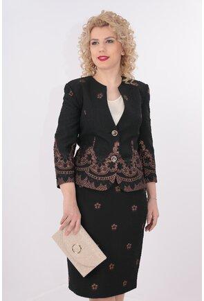 Costum elegant negru din brocard
