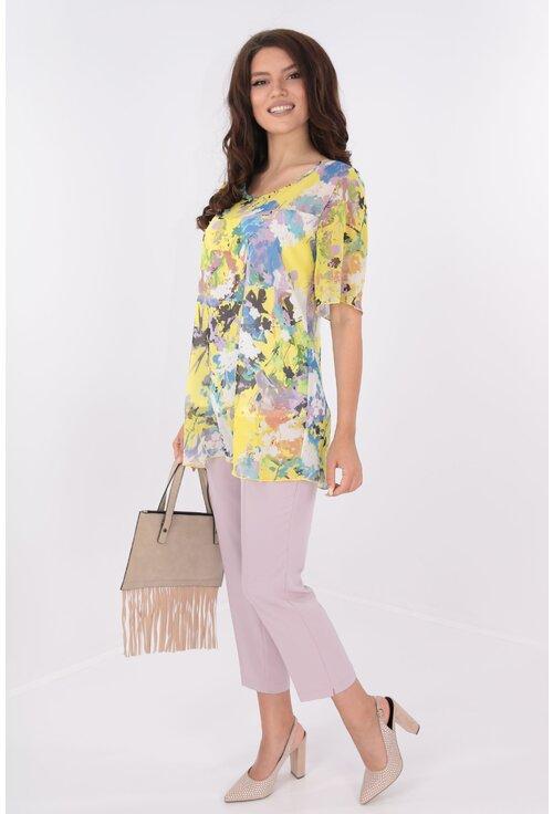 Costum lila bluza din voal si pantaloni