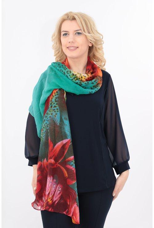 Esarfa fina turcoaz cu print floral maxi