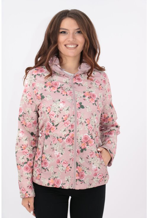 Jacheta fas roz matlasata cu gluga si doua fete