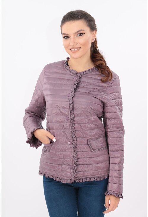 Jacheta violet din fas matlasat cu volanase
