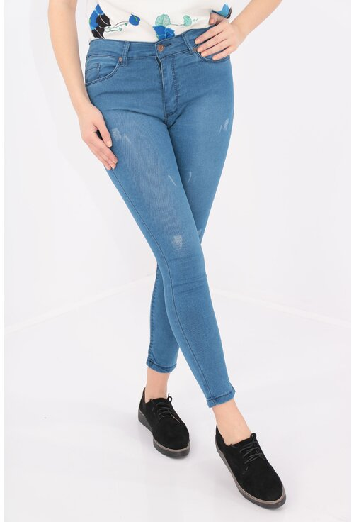 Jeans skinny fit cu rosaturi decorative
