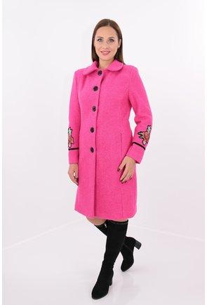 Mantou roz din stofa groasa bucle