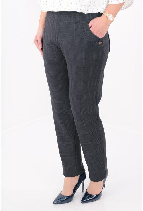 Pantaloni bleumarin flausati cu imprimeu cu carouri