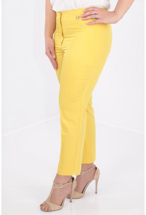 Pantaloni conici galbeni din bumbac satinat