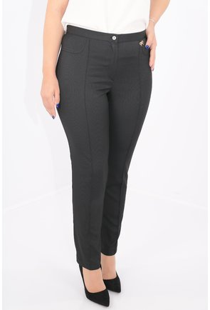 Pantaloni conici negri cu dungi fine