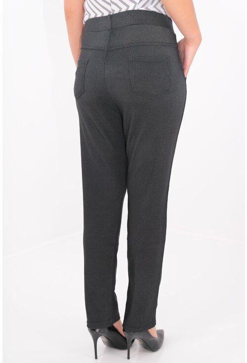 Pantaloni gri inchis cu striatii fine gri