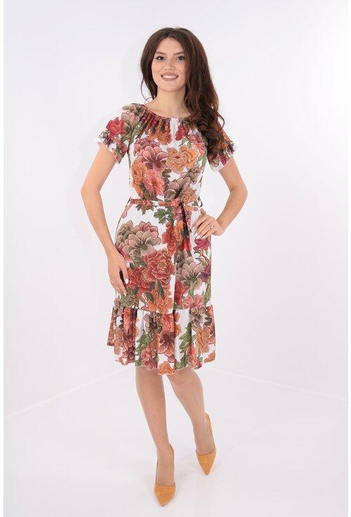 Rochie alba cu cordon in talie si flori caramizii