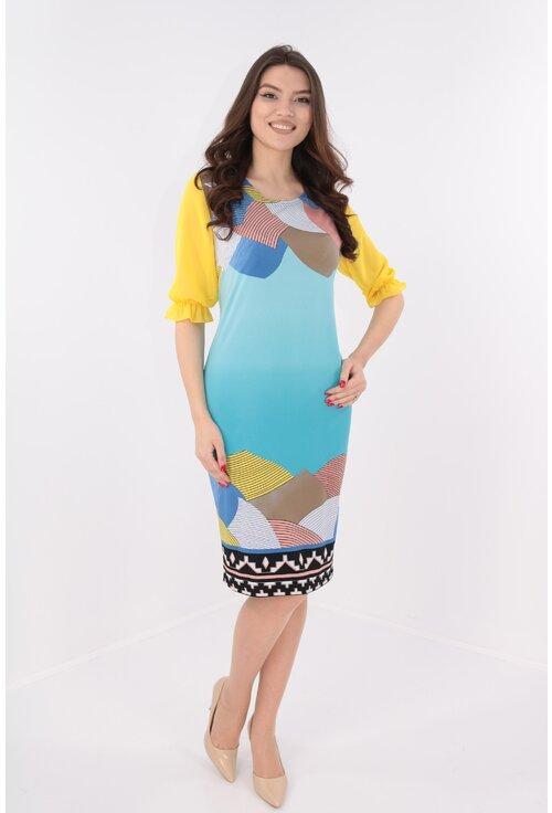 Rochie bleu cu print geometric si maneci galbene