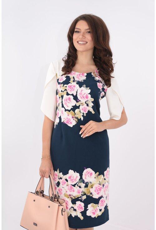Rochie bleumarin cu bordura cu trandafiri roz