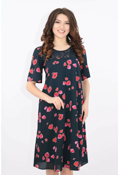 Rochie bleumarin cu print floral si dantela