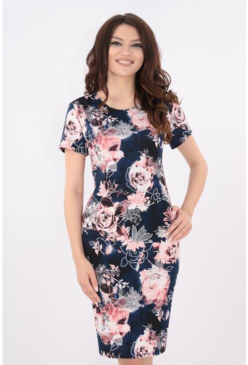 Rochie bleumarin cu trandafiri roz