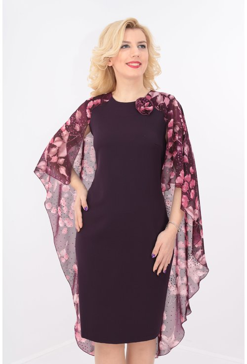 Rochie cambrata violet cu pelerina din voal