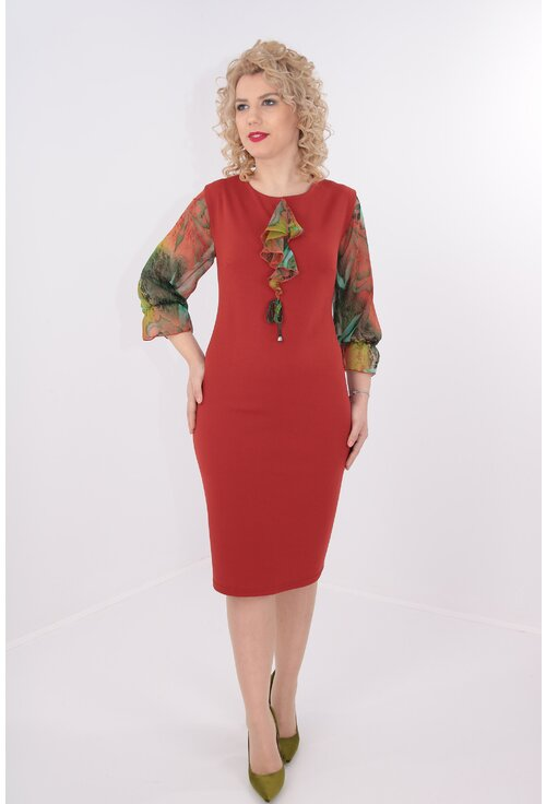 Rochie caramizie cu maneci din voal cu print multicolor