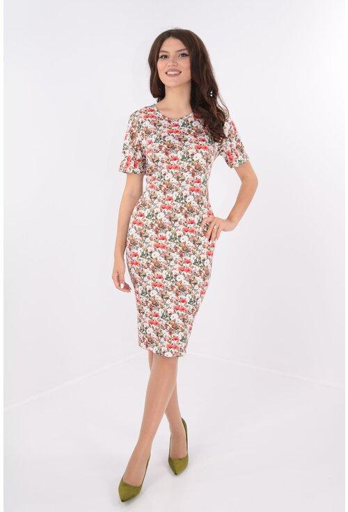 Rochie casual alba cu desen floral corai