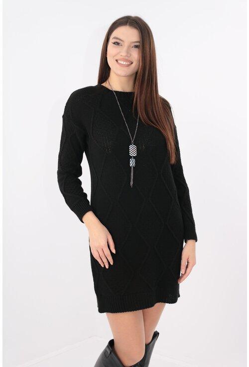 Rochie casual tricotata neagra cu lantisor