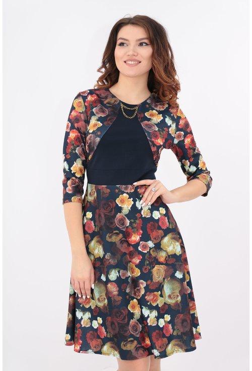 Rochie clos bleumarin cu imprimeu floral