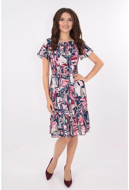 Rochie cu cordon in talie si print geometric roz-bleumarin