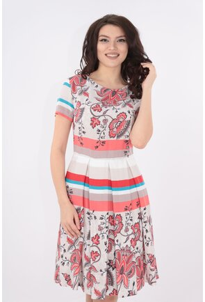 Rochie cu pliuri si print bordurat corai