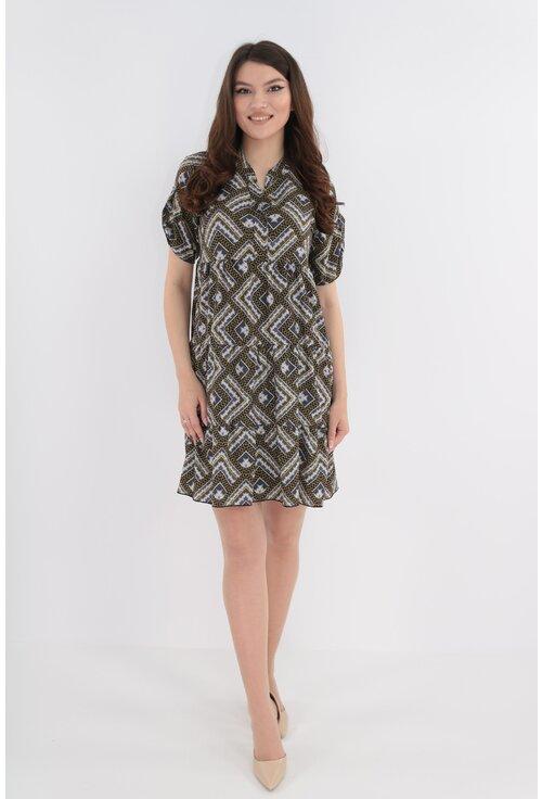 Rochie cu print geometric gri-mustar si volane