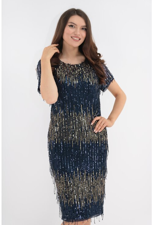 Rochie de ocazie bleumarin cu franjuri si aplicatii din paiete