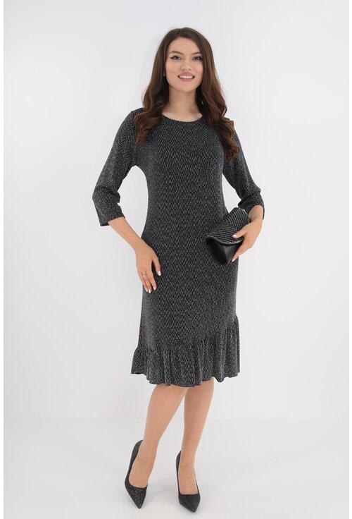 Rochie de ocazie din lurex negru cu fir argintiu