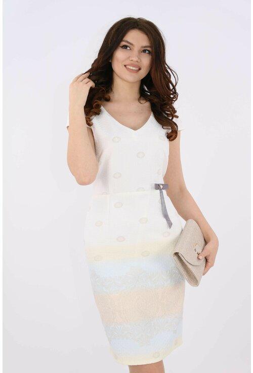 Rochie din brocard cu bordura tricolora