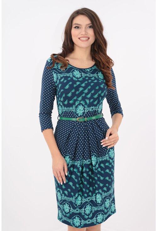 Rochie din jerse bleumarin cu buline si print bordurat