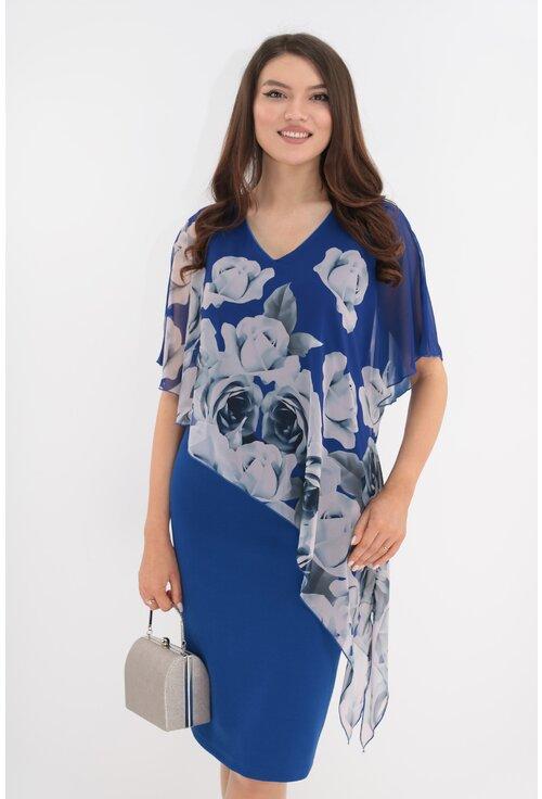 Rochie din stofa albastra cu pelerina asimetrica din voal