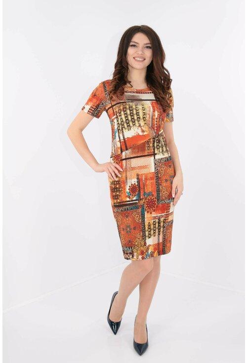 Rochie din tricot cu print oranj