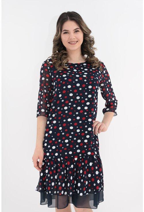 Rochie din voal bleumarin cu buline albe si rosii