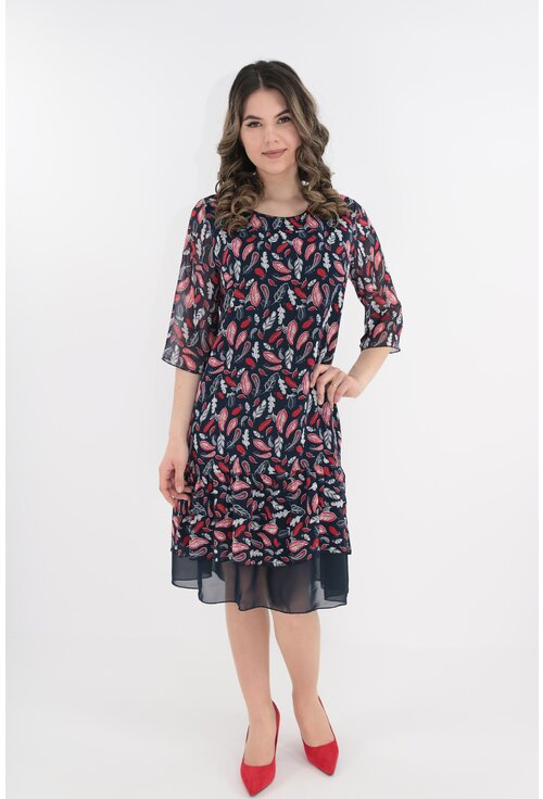 Rochie din voal bleumarin cu frunze gri si rosii