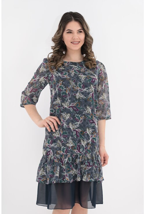 Rochie din voal bleumarin cu frunze multicolore