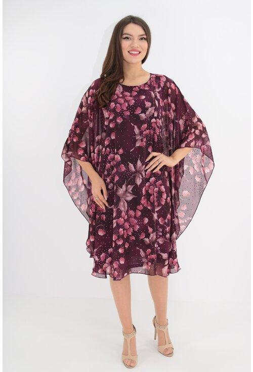 Rochie din voal mov cu print floral lila si sclipici