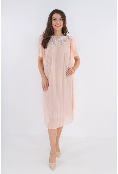Rochie din voal plisat roz