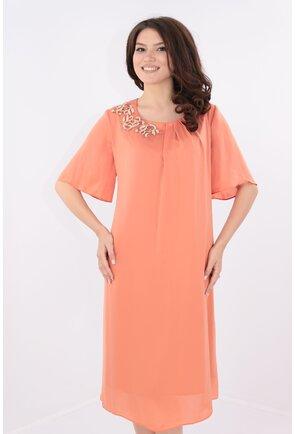 Rochie din voal roz-piersica cu broderie aurie