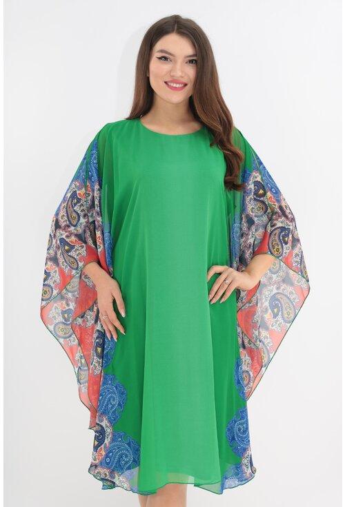Rochie din voal verde cu bordura verticala