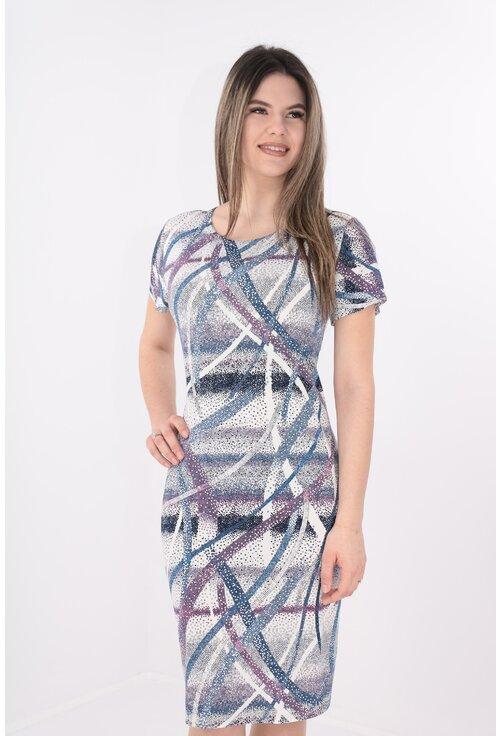 Rochie dreapta cu buline mici si print geometric albastru