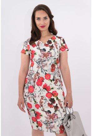 Rochie dreapta cu flori rosii