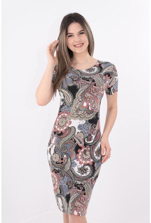 Rochie dreapta cu print abstract rosu-gri