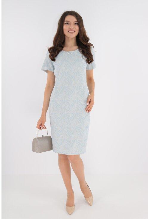 Rochie eleganta bleu cu model 3D si fir auriu