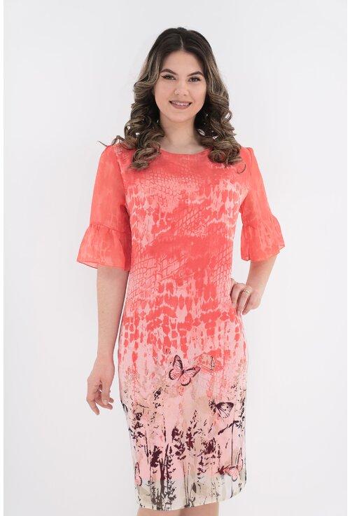 Rochie eleganta corai cu bordura
