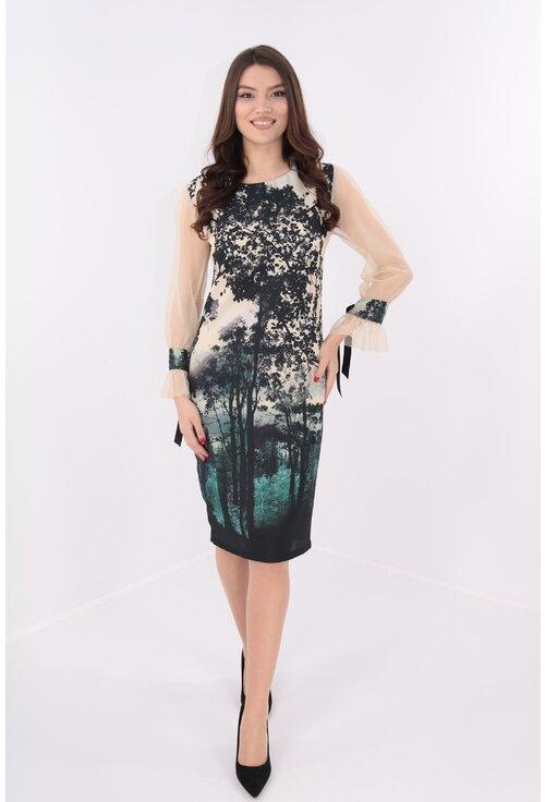 Rochie eleganta crem cu print negru