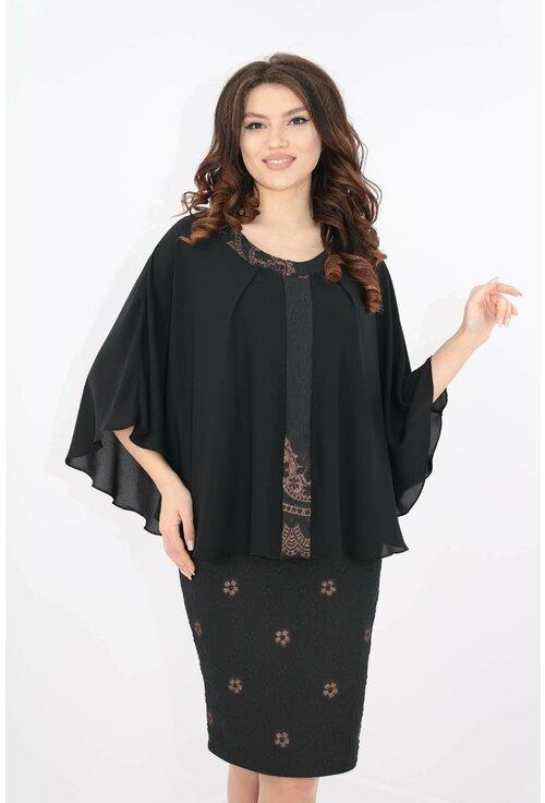 Rochie eleganta din brocard negru si pelerina din voal