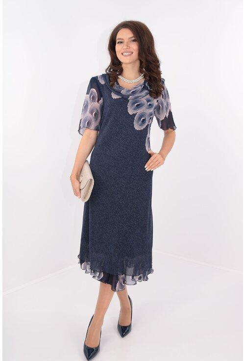 Rochie eleganta din voal bleumarin cu print roz